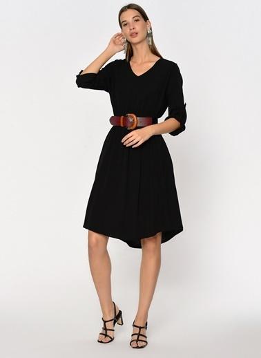 Loves You Beli Lastikli Astarlı Krinkıl Elbise Siyah